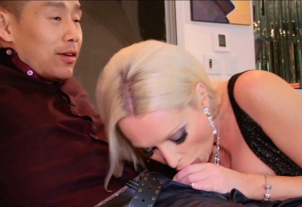 Diana Doll blonde babe suck big asian cock