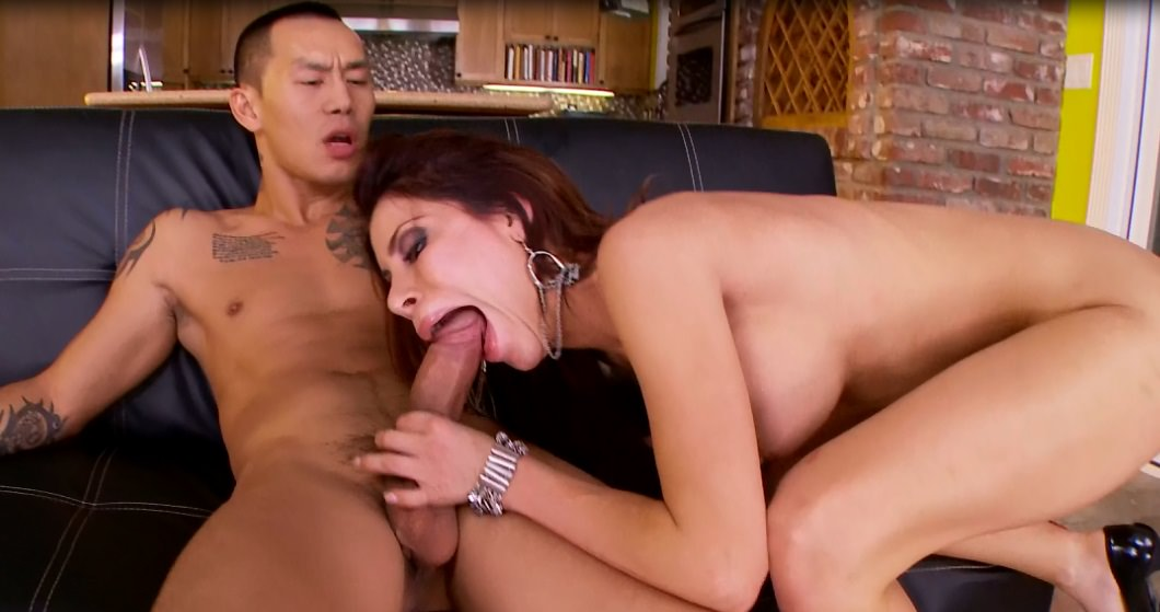 Chanel Preston deep-throat asian cock